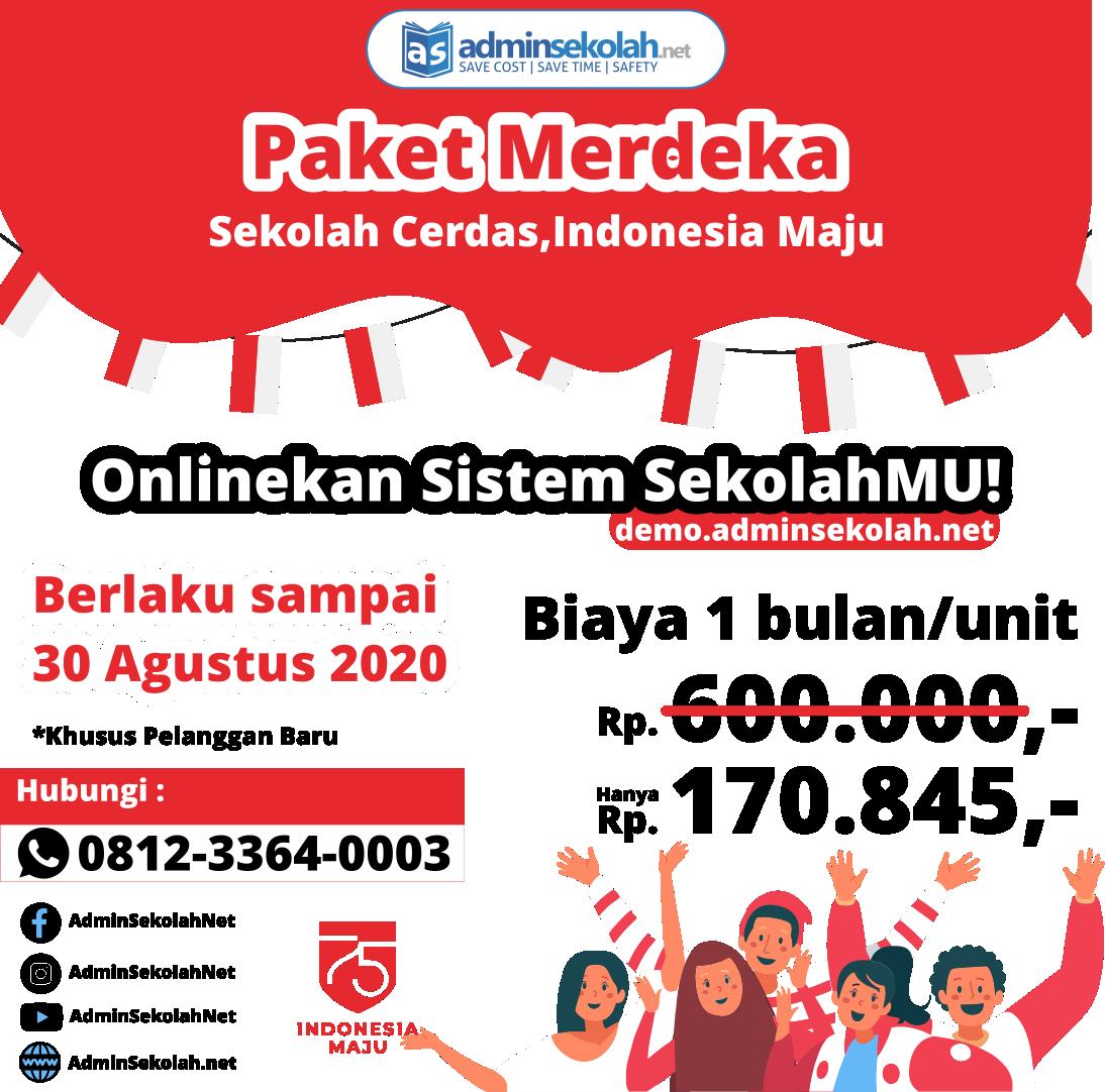 PROMO Paket #Merdeka ! Sekolah Cerdas, Indonesia Maju !