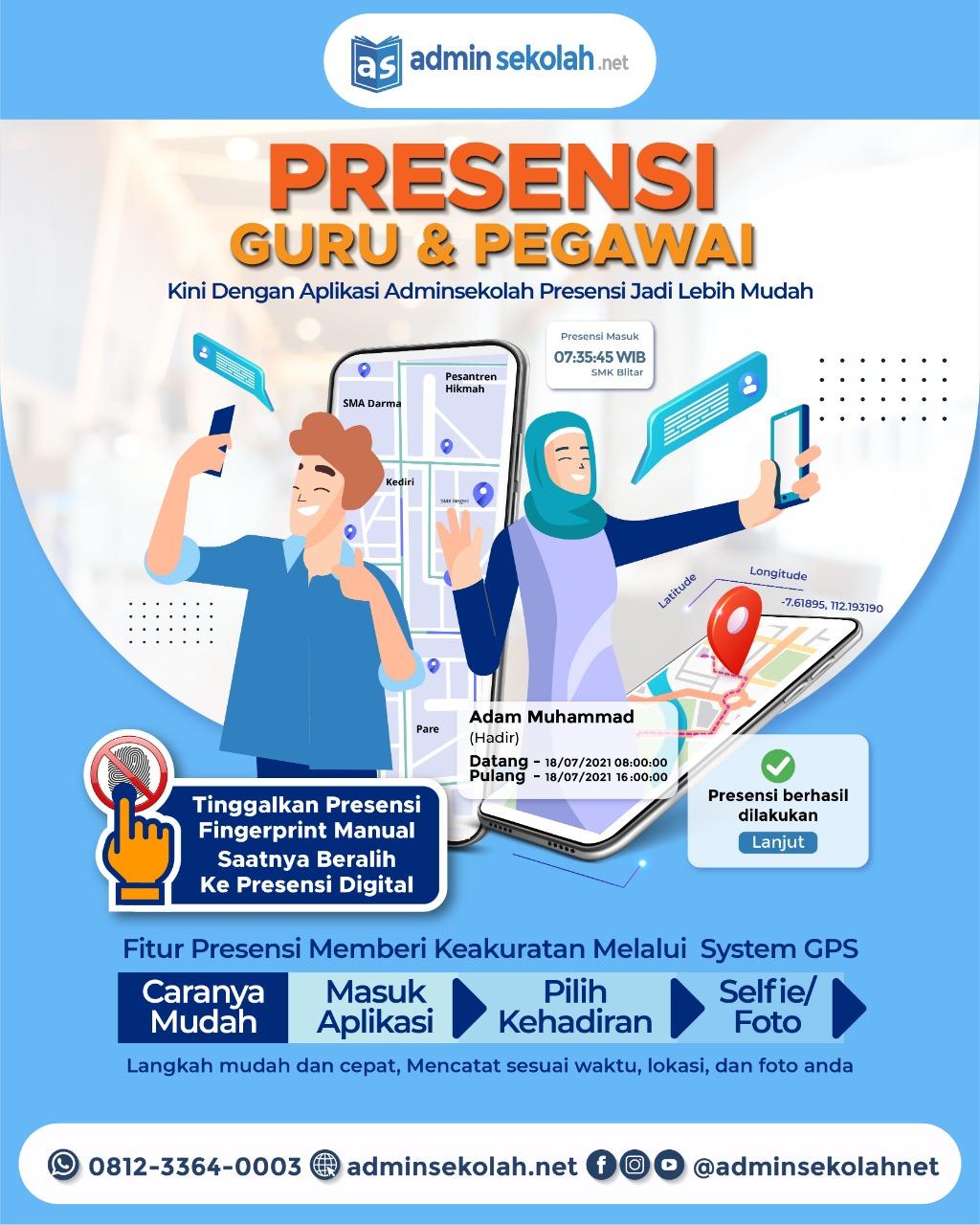 Fitur Terbaru ! Presensi Online Guru & Pegawai (Via GPS & Selfie) !